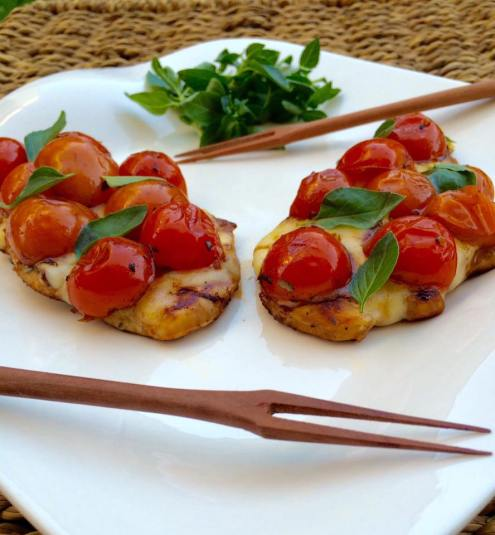 (1) chicken with tomato and basil