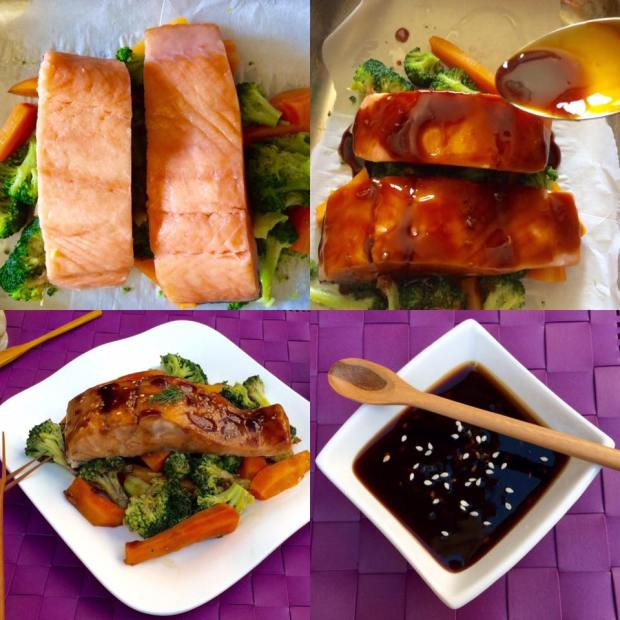 (16)salmon with lighter teriyaki sauce