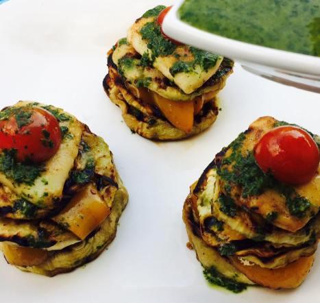 (25)eggplant and haloumi salad
