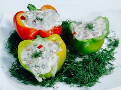 (32) light cheese stuffed bell pepper